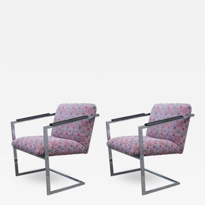 Jack Lenor Larsen   Pair Of Architectural Chrome Chairs In The Manner Of  Milo Baughman