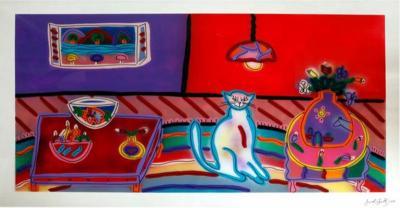Jack Shultz Cat in Living Room Scene Painting by Jack Shultz