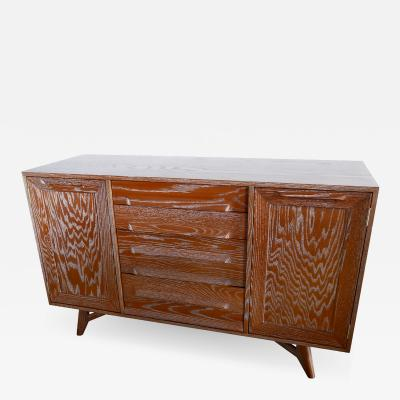 Jack van der Molen A Pair of American Modern Cerused Oak Four Drawer Two Door Credenza Buffet
