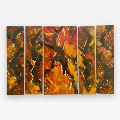 Jackson Pollock Art Deco Enamel Wall Glass Art in the Manner of Jackson Pollock