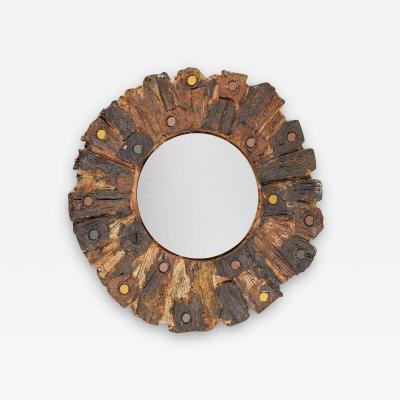Jacky Coville Ceramic Mirror by Jacky Coville France 1970s