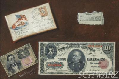 Jacob Atkinson Ten Dollar Bill and a Soldiers Letter