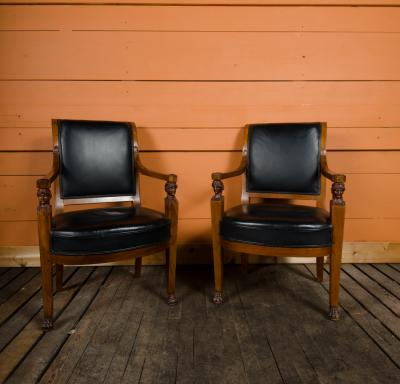 Jacob Freres A pair of nineteenth century French Jacob Fr res Consulat armchairs