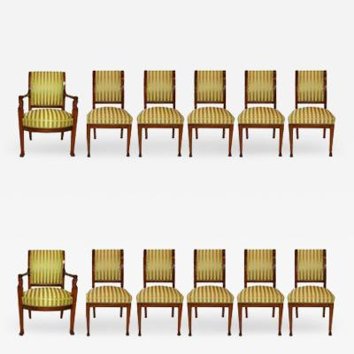 Jacob Freres An Important Set of 12 French Empire Mahogany Dining Chairs Jacob Freres 1803