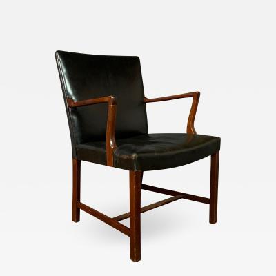 Jacob Kj r Jacob Kj r 1940s Leather Mahogany Armchair Denmark