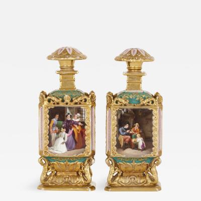Jacob Petit Pair of Rococo style gilt porcelain bottles probably by Jacob Petit