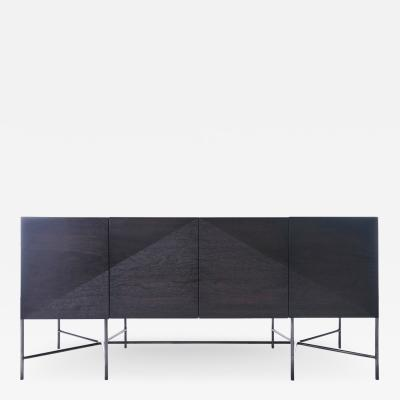 Jacob Wener Web Series Walnut Credenza with Welded Steel Base by Modern Industry Design