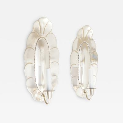 Jacob ngman LARGE PAIR OF SWEDISH ART DECO SILVER PLATED SCONCES FROM JACOB NGMAN FOR GAB