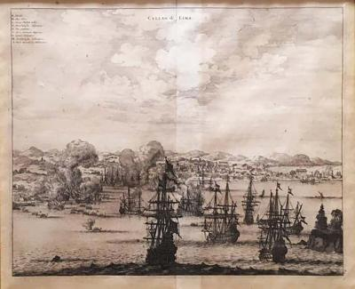 Jacob van Meurs Copperplate Engraving of the Port of Lima from 1671 by Jacob van Meurs