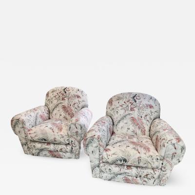 Jacobean Linen Upholstery Swivel Club Chairs a Pair
