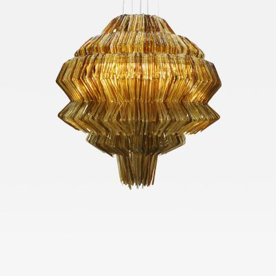 Jacopo Foggini Jacopo Foggini Contemporary Pendant Gold and Brown Polycarbonate Lamp Italy