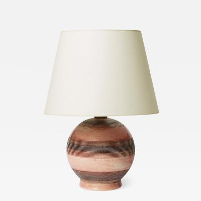 Jacqes Chaillout Table Lamp with Stripes in Sgraffito and Rose Glaze by Jacques Adnet