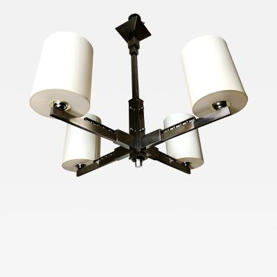 Jacques Adnet 1930s Four Arm Modernist Nickeled Bronze Chandelier