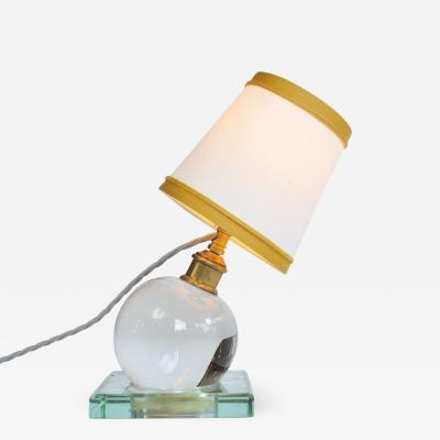 Jacques Adnet 1930s crystal ball lamp by Jacques Adnet