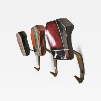 Jacques Adnet 1950s Ceramic Coat Hooks Set of 3 Bold Pattern Red Black Plaid from GERMANY