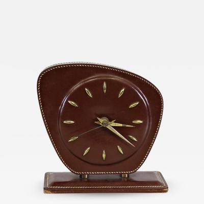 Jacques Adnet 1950s Jacques Adnet Leather Table Clock