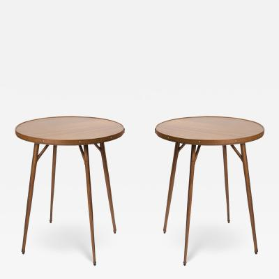 Jacques Adnet 1950s Pair of stitched leather Side tables by Jacques Adnet