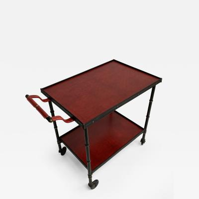 Jacques Adnet 1950s Stitched Leather Bar cart By Jacques Adnet