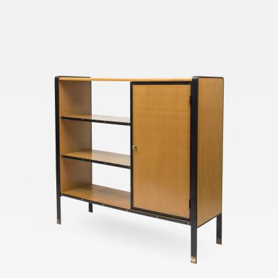 Jacques Adnet 1950s Stitched Leather Bookcase by Jacques Adnet