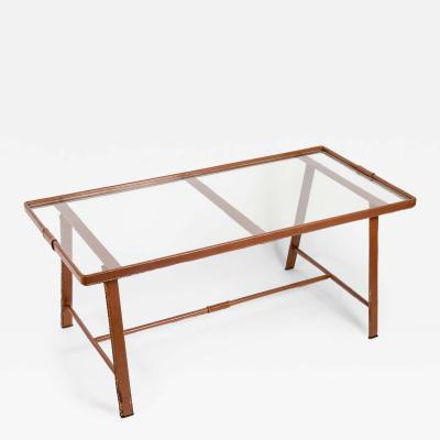 Jacques Adnet 1950s Stitched Leather Cocktail table By Jacques Adnet