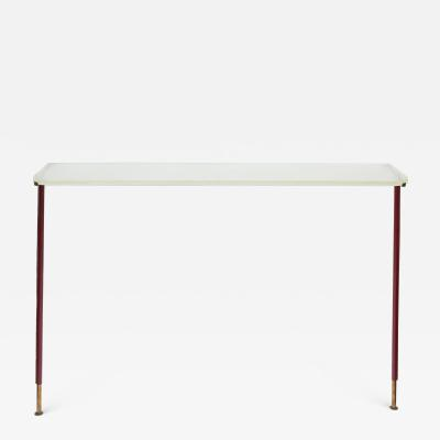 Jacques Adnet 1950s Stitched Leather Console By Jacques Adnet