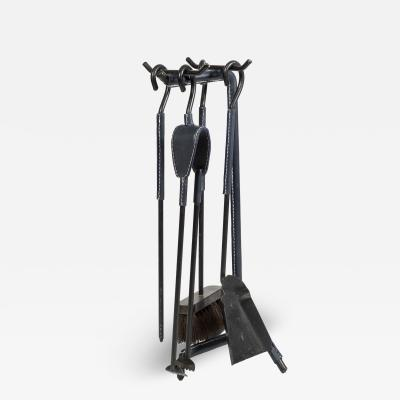 Jacques Adnet 1950s Stitched Leather Fire stools by Jacques Adnet