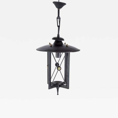 Jacques Adnet 1950s Stitched Leather Lantern by Jacques Adnet