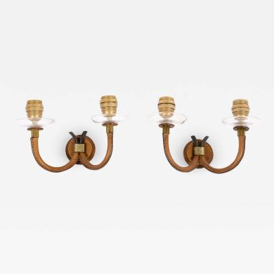 Jacques Adnet 1950s Stitched Leather Sconces by Jacques Adnet