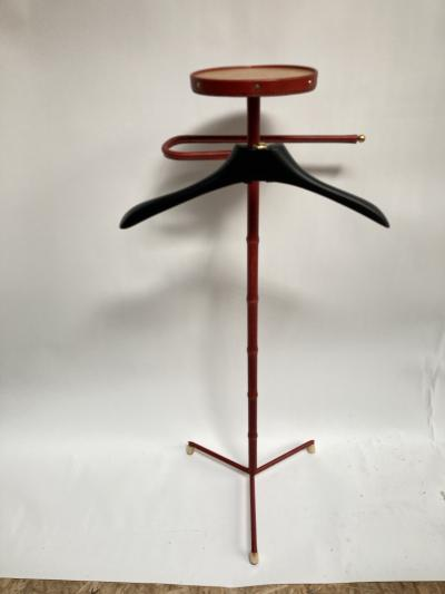 Jacques Adnet 1950s Stitched Leather Valet by Jacques Adnet