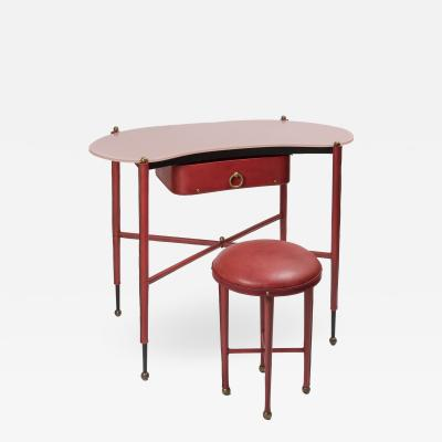 Jacques Adnet 1950s Stitched Leather Vanity By Jacques Adnet