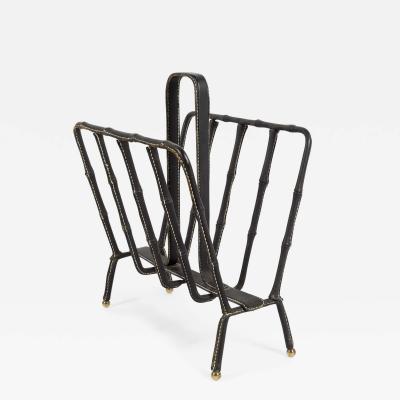 Jacques Adnet 1950s Stitched Leather magasine rack by Jacques Adnet