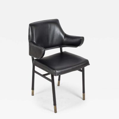 Jacques Adnet 1950s Stitched leather armchair by Jacques Adnet