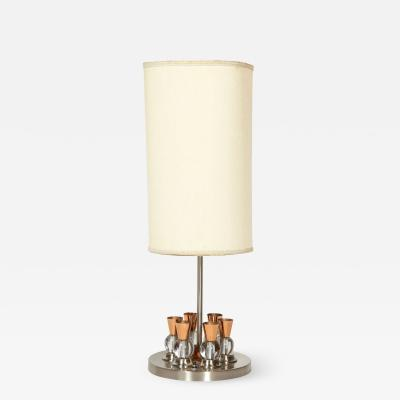 Jacques Adnet A French Chrome Copper and Glass Lamp