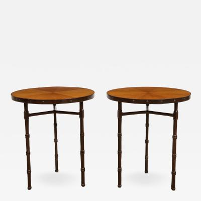 Jacques Adnet A Rare Pair of Chocolate Brown Leather Tables by Jacques Adnet