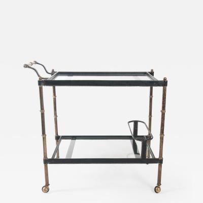 Jacques Adnet A mid century Jacques Adnet bar cart circa 1950