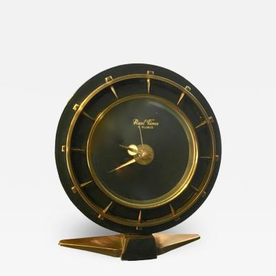 Jacques Adnet Adnet Style Brass and Leather Clock