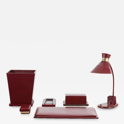 Jacques Adnet Adnet Style Burgundy Leather Desk Set with Task Lamp France 1930s