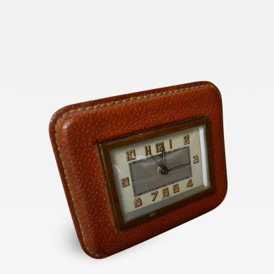 Jacques Adnet Adnet Style Leather Alarm Clock