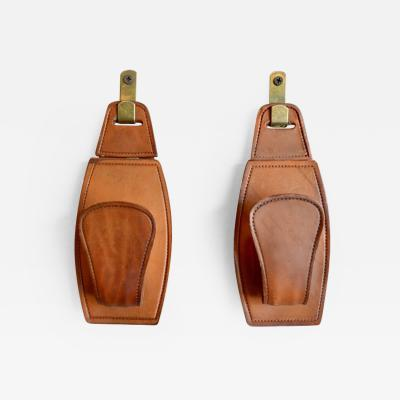 Jacques Adnet Adnet Style Saddle Leather Hooks