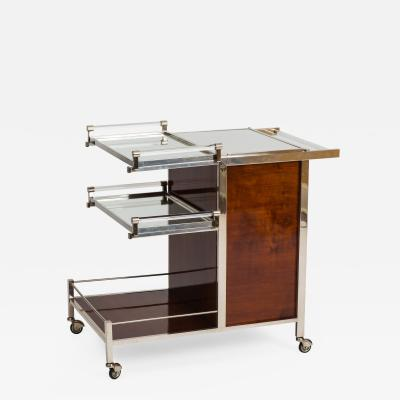 Jacques Adnet Art Deco Palissander and Chrome plated Bar Cart