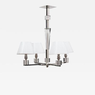 Jacques Adnet Art Deco Polished Chrome Glass Chandelier by Jacques Adnet