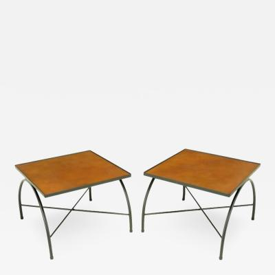 Jacques Adnet Black Lacquered Wrought Iron and Leather X Base End Tables after Jacques Adnet