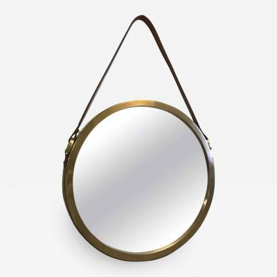 Jacques Adnet Brass and Leather Strap Mirror Style of Jacques Adnet