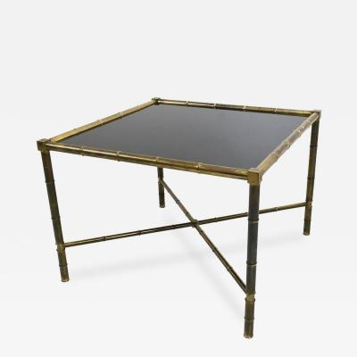 Jacques Adnet Brass and Opaline Glass Coffee Table Ascribable to Adnet France 1950s