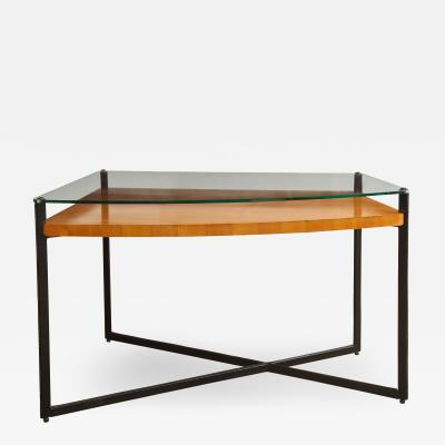 Jacques Adnet CURVED FRUITWOOD CENTER TABLE WITH GLASS TOP BY ADNET