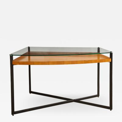 Jacques Adnet Curved fruitwood center table by Adnet