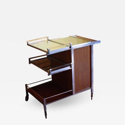 Jacques Adnet Dry Bar Service Cart by Jacques Adnet