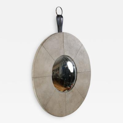 Jacques Adnet Eccentric Mirror Covered with Parchment by Jacques Adnet 1940 1950