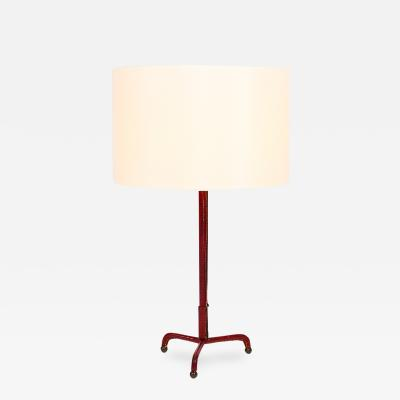 Jacques Adnet Elegant rede leather table lamp
