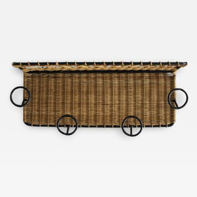 Jacques Adnet FRENCH WICKER COAT RACK ATTRIBUTED TO JACQUES ADNET